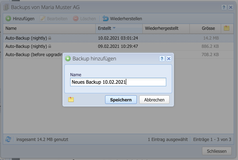 Labeling dialog for new backups.