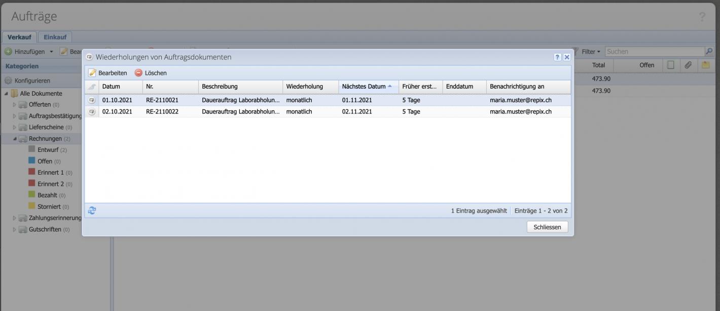 Screenshot Übersicht der Aufträge mit einer Wiederholung.