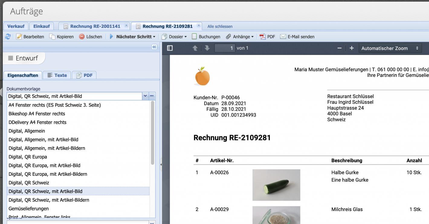 Rechnungskonfiguration mit Dokumentvorlagen
