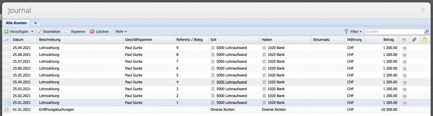 Screenshot Journalübersicht mit einer Vielzahl von erstellten Buchungen.