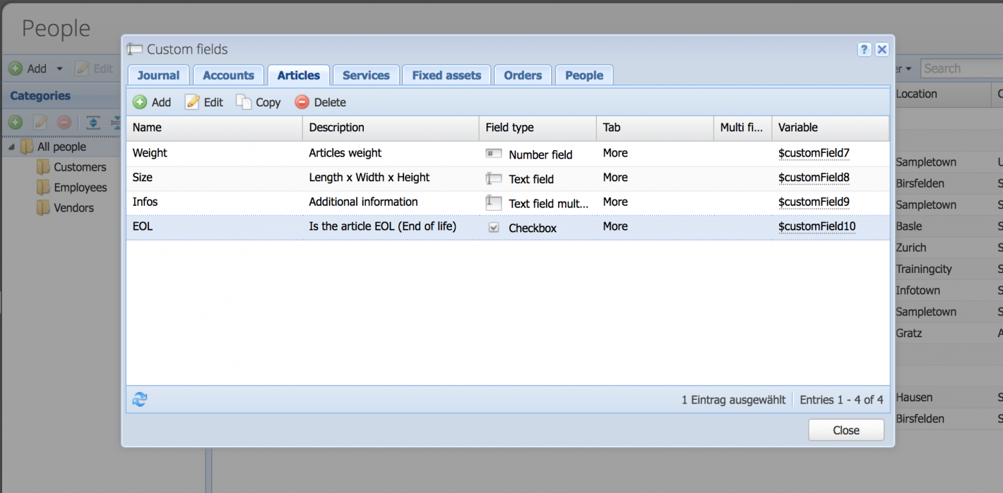 Overview of custom fields, sorted in tabs