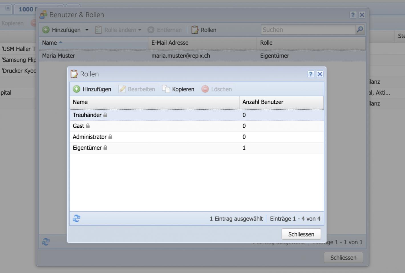 Screenshot verfügbarer Benutzer in einem CashCtrl Account.