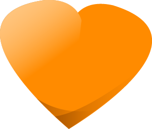 Orange heart - we care about you.