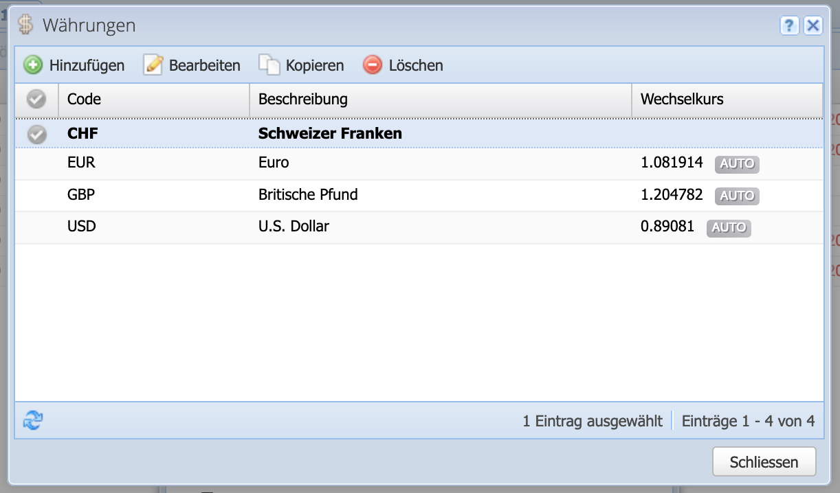 CashCtrl screenshot: Select default currency