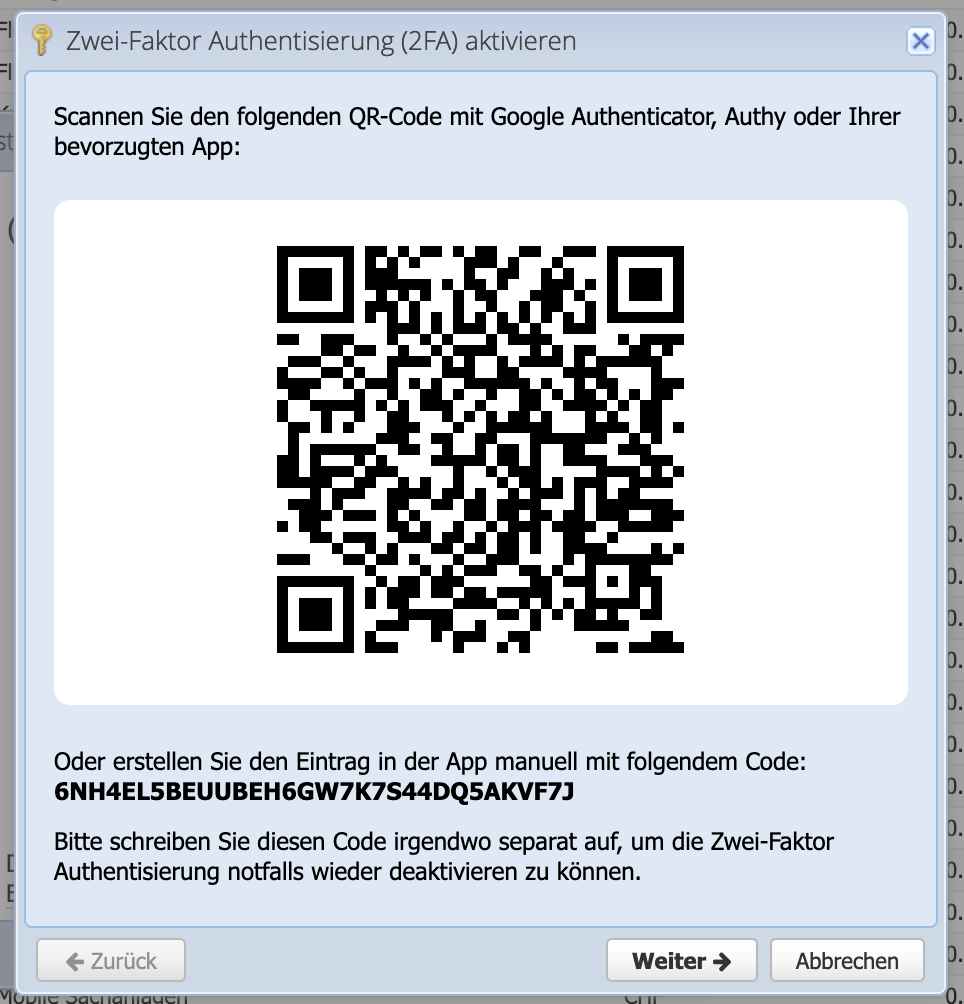 CashCtrl screenshot enable 2-factor authentication