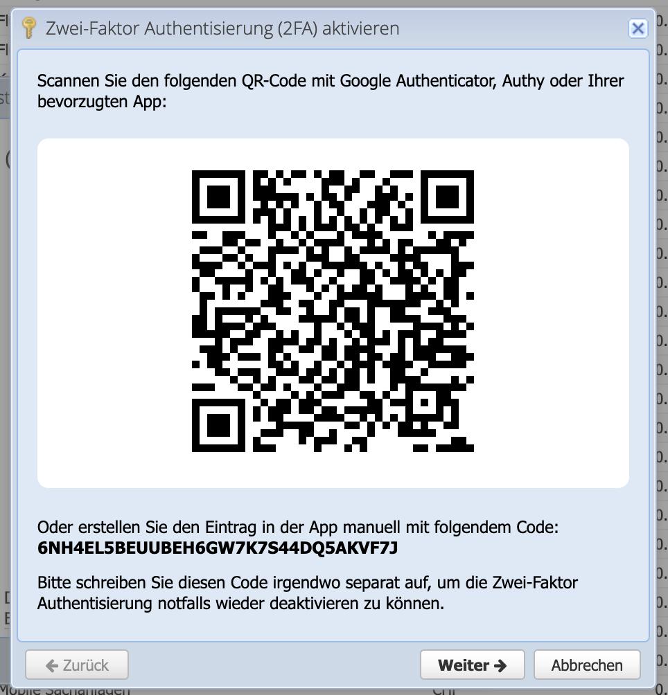 CashCtrl Dialog 2-Faktor Authentisierung aktivieren