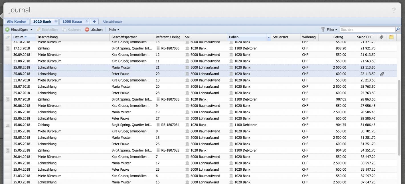 Screenshot of CashCtrls journal with selected daily balances.