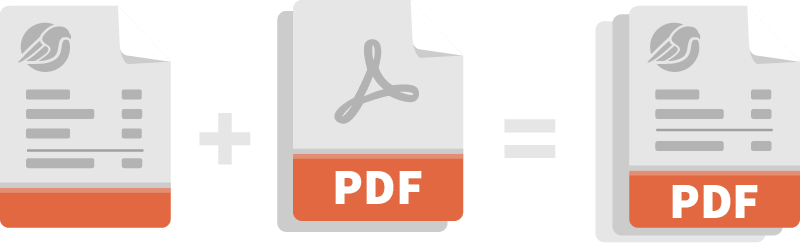 Illustration: PDF file icons merge to one file