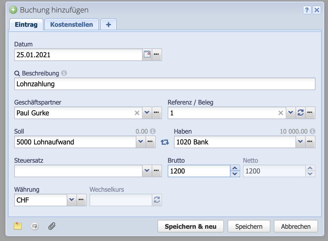 Screenshot Buchungsdialog mit einzelner Buchung