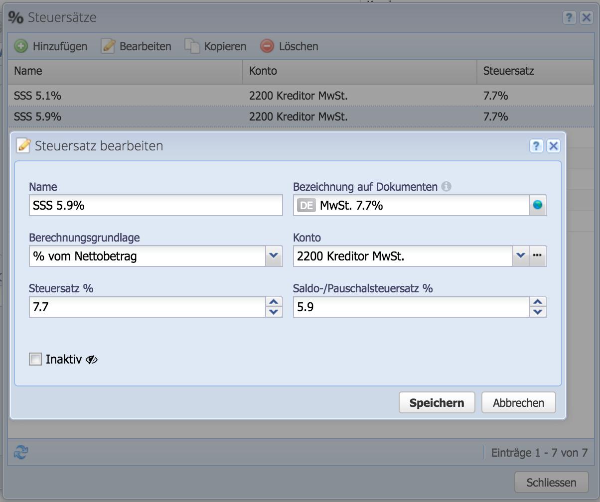 Screenshot CashCtrl Dialog: Erfassen eines neuen Saldosteuersatzes.