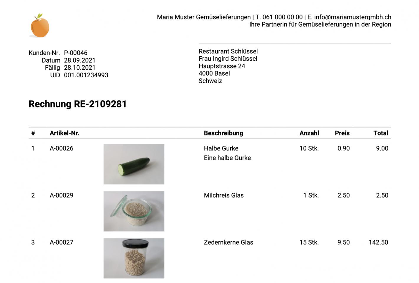 Screenshot: Rechnungsdokument mit Artikelbilder bei den Positionen