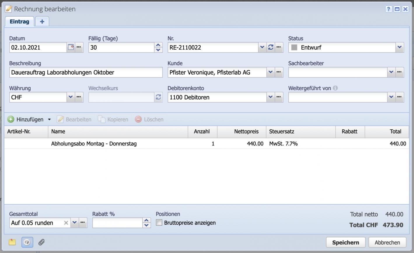 Screenshot Rechnungsdialog mit einzelnen Positionen
