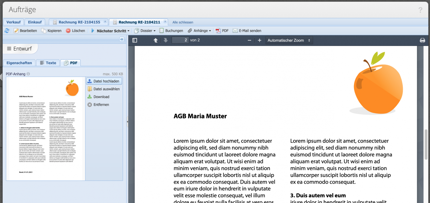 Screenshot: PDF file is finally attached