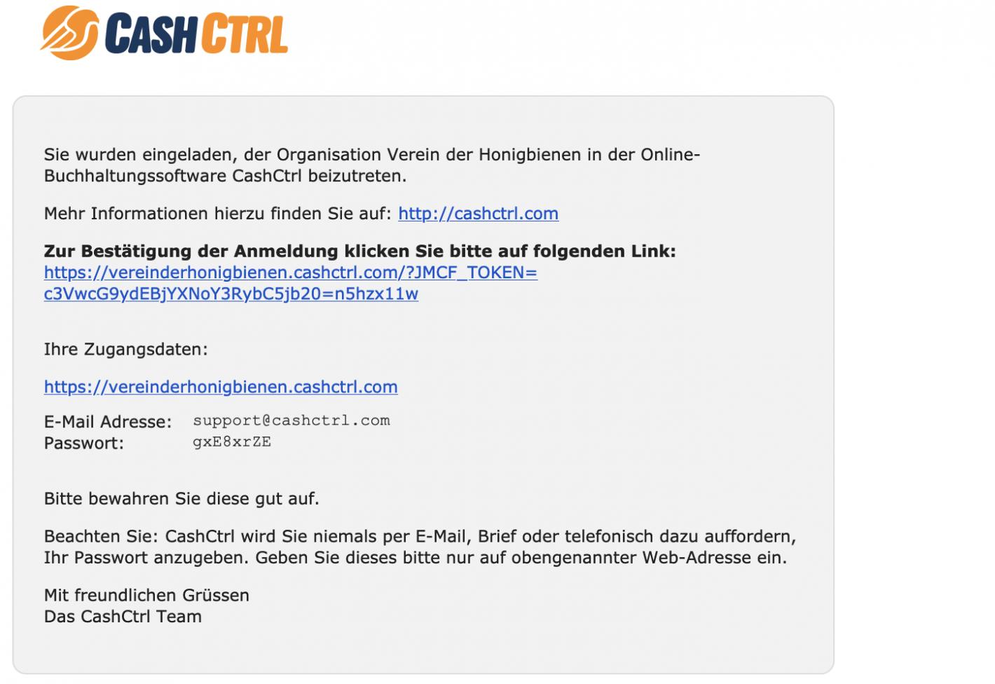 Screenshot der versendeten Email mit Passwort und Zugangsdaten zum CashCtrl Login.