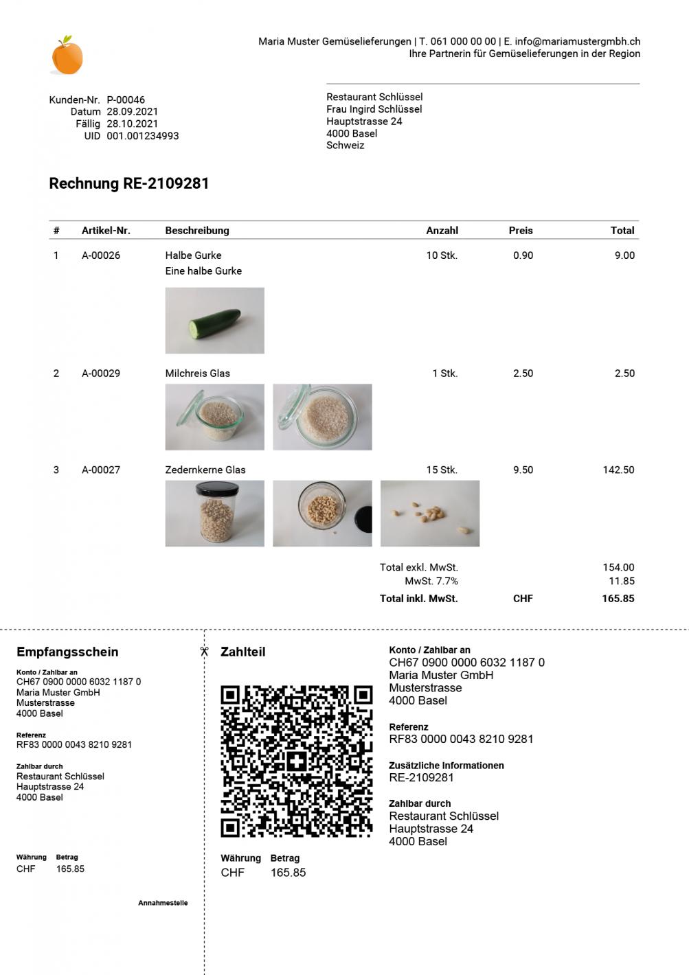 QR-Rechnung mit Artikelbilder