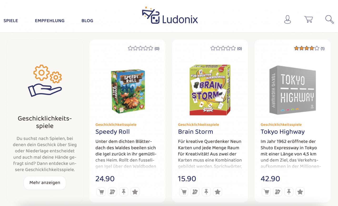 Ludonix Webshop Screenshot mit Brettspielen.