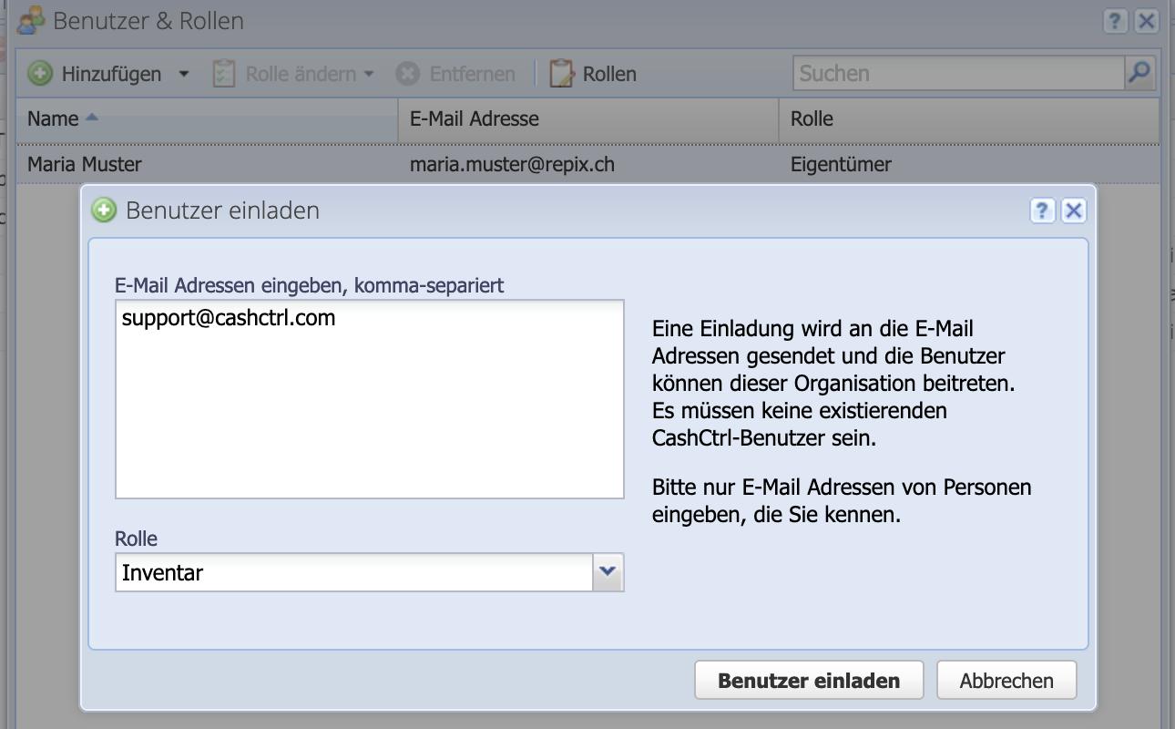 Screenshot Dialog um Neue Benutzer einzuladen.